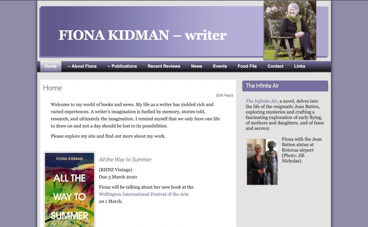 Website: Fiona Kidman website